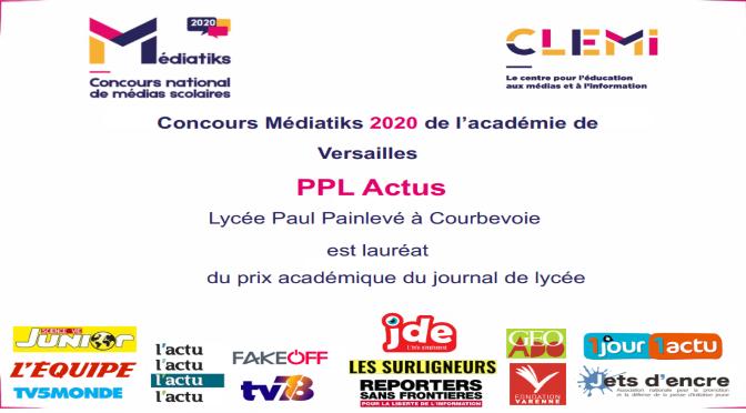 PPL ACTUS MEILLEUR JOURNAL LYCÉEN ACADÉMIQUE AU CONCOURS MEDIATIKS 2020 DU CLEMI