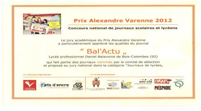 Prix académique alexandre Varenne 2012 pour Bal'Actu