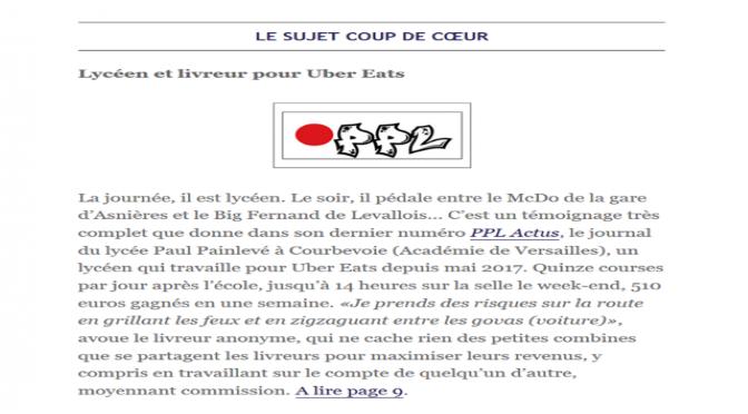 Coup de cœur du Clemi pour Un article de PPL Actus n°7