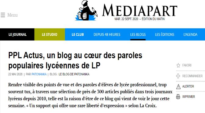 le blog PPL Actus à la une de la partie Club de Mediapart
