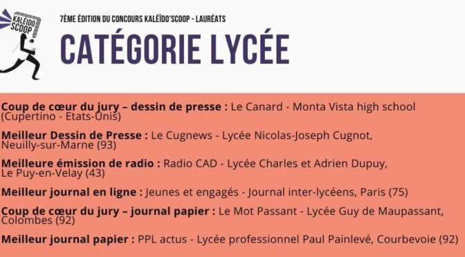 Concours national de la presse jeune Kaléido'scoop 2020 : PPL Actus, meilleur journal lycéen papier
