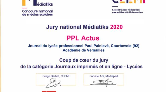 Concours Mediatiks national 2020 : Prix coup de coeur pour PPL ACTUS